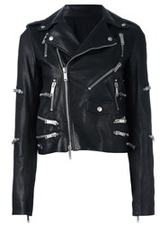 Unravel Zip Detail Biker Jacket Black