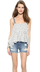 Free People Window Pane Plaid Lola's Tank Tea Combo