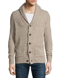 Original Penguin Shawl Collar Elbow Patch Cardigan Sweater Silver