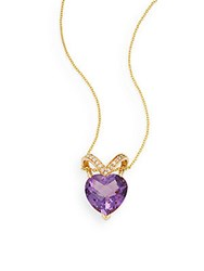 Effy Amethyst Diamond And 14K Yellow Gold Heart Pendant Necklace Gold Purple