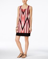 Ny Collection Sleeveless Printed Shift Dress Coral Candypeak