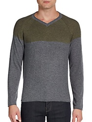 Saks Fifth Avenue Blue Colorblock Wool Cashmere Sweater Olive Grey
