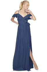 Women's Ceremony By Joanna August 'Portia' Off The Shoulder Ruffle Wrap Chiffon Gown Tangled Up In Blue