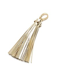 Etienne Aigner Metallic Pebbled Long Tassel Key Fob