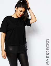 Asos Curve T Shirt With Sheer Panel Black