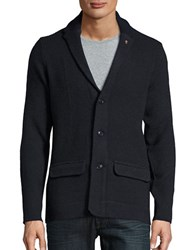 Ben Sherman Herringbone Cotton Blend Cardigan Blue Black