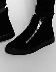 Asos Zip Boots In Black Faux Suede With Chunky Sole Black