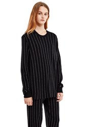 Opening Ceremony Pinstripe Long Sleeve Top Black