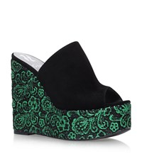 Gina Carra Embroidered Wedges Female Black
