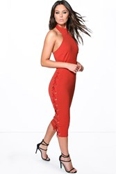 Boohoo Lace Up Side Detail Midi Bodycon Dress Spice