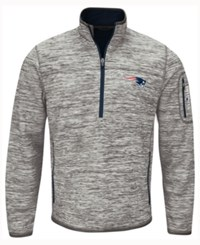 G3 Sports Men's New England Patriots Fast Pace Quarter Zip Pullover Gray Navy