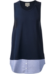 Band Of Outsiders Contrast Shirt Hem Tank Top Blue