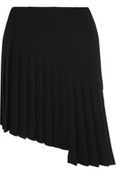Thierry Mugler Asymmetric Pleated Crepe Mini Skirt Black