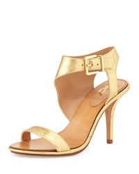Vince Camuto Signature Pikora Leather Ankle Wrap Sandal Pump Gold