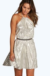 Boohoo Halterneck Strappy Metallic Skater Dress Champagne