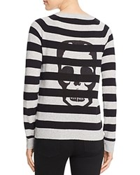 Aqua Cashmere Skull Stripe Cashmere Sweater Light Grey Black