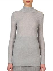 Balmain Ribbed Wool Turtleneck Sweater Grey Black