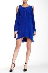 Madison Marcus Open Shoulder Silk Dress Blue