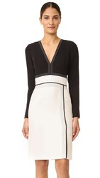 J. Mendel Seamed Cocktail Dress Noir Lily White