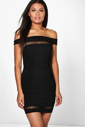 Boohoo Mesh Insert Off Shoulder Bodycon Dress Black