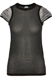 M Missoni Paneled Open Knit Top Black