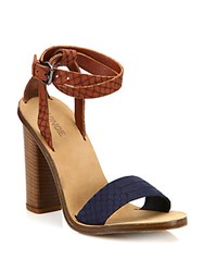 Vince Nava Snake Embossed Ankle Wrap Sandals Indigo White