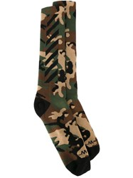 Off White Camouflage Socks Multicolour