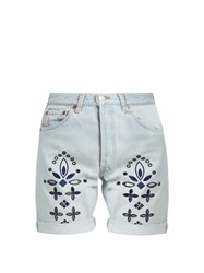 Bliss And Mischief Eyelet Bandana Denim Shorts Denim Multi