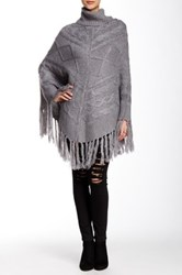 Romeo And Juliet Couture Turtleneck Fringe Poncho Gray