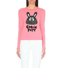 Mini Cream Monster Print Cotton Jersey Top Pink