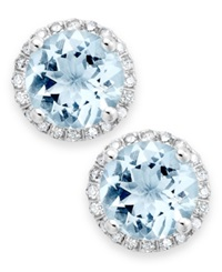 Macy's 14K White Gold Earrings Aquamarine 2 Ct. T.W. And Diamond 1 5 Ct. T.W. Stud Earrings