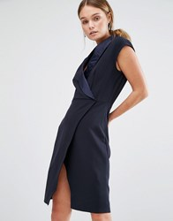Closet London Tuxedo Midi Dress With Wrap Front Navy