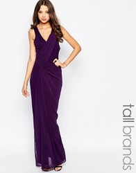Studio 75 Tall Manna Maxi Dress With Wrap Front And Strappy Back Purple