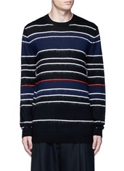 Mcq By Alexander Mcqueen Knit Brushed Stripe Sweater Black Multi Colour