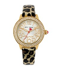 Betsey Johnson Ladies Goldtone Crystal And Leather Watch Leopard