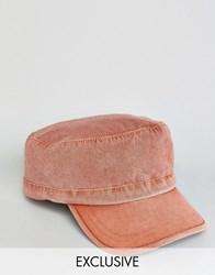 Reclaimed Vintage Washed Army Cap In Rust Red