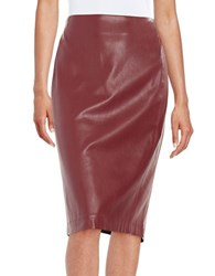 Design Lab Lord And Taylor Faux Leather Pencil Skirt Red