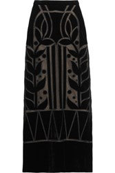 Temperley London Ashina Velvet And Mesh Maxi Skirt Black