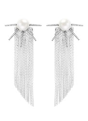Venna Strass Pave Pearl Star Fringe Drop Earrings Metallic