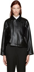 Comme Des Garcons Black Faux Leather Asymmetric Jacket