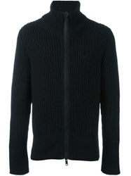 Ann Demeulemeester Ribbed Zipped Cardigan Black