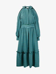 Fendi Open Shoulder Striped Dress With Ruffle Turquoise Green Black