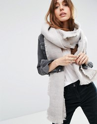 Asos Oversized Long Woven Scarf In Two Tone Stone