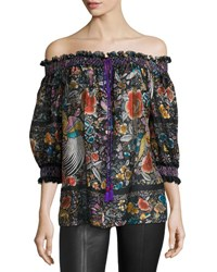 Roberto Cavalli Floral Print Chiffon Off The Shoulder Blouse Black
