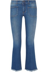 Stella Mccartney Cropped Frayed Low Rise Flared Jeans Mid Denim