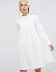 Asos Long Sleeve Cotton Pleated Dress White