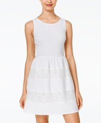 City Triangles City Studios Juniors' Sleeveless Textured Fit And Flare Dress White