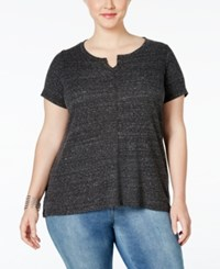 Styleandco. Style And Co. Plus Size Split Neck T Shirt Only At Macy's Deep Black