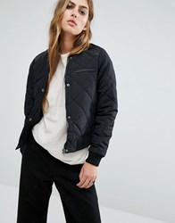 Noisy May Quilted Bomber With Pu Detail Black