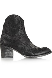 Mexicana Klak Embroidered Distressed Leather Ankle Boots Black